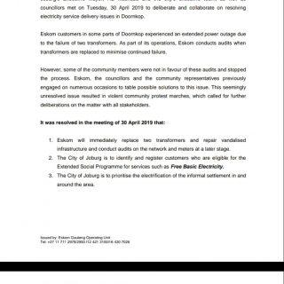 #EskomGauteng #MediaStatement   Eskom and the Executive Mayor of Johannesburg re… 59305888 2795327227160670 2235341172589461504 o 320x320