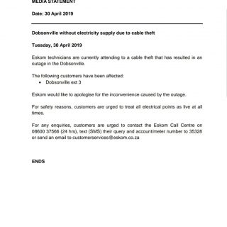 #EskomGauteng #MediaStatement  Date: 30 April 2019  Dobsonville without electric… 59342909 2791553137538079 4849491541493809152 o 320x320