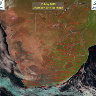 Afternoon satellite image (13 May 2019) – Mostly sunny across South Africa. Enjo… 60231510 1016689071867749 7852316925764829184 o 320x320