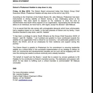 #EskomMediaStatement  Eskom's Phakamani Hadebe to step down in July 61393753 2836959726330753 4681229428804550656 o 320x320