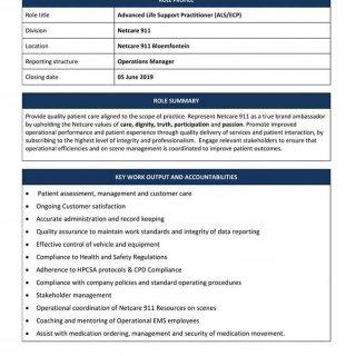 Vacancy: Advanced Life Support Practitioner (ALS/ECP) Netcare Netcare 911 Bloemf… 61586803 2334893786531744 5710048480458702848 n 320x320