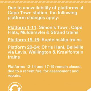 #Trainreport : Please note  Cape Town station platform changes . 62088647 3302489119776651 2840281466485604352 o 320x320