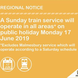 #Trainreport : A Sunday train service will operate in all areas on public holida… 64421880 3334565109902385 4149592059008778240 o 320x320