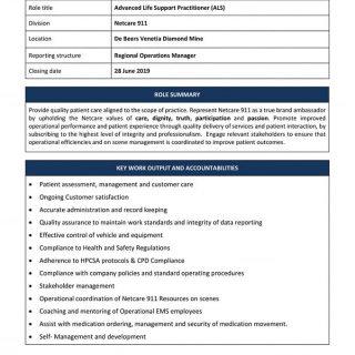 Vacancy: Advanced Life Support Practitioner (ALS) Netcare 911 De Beers Venetia D… 65041986 2382740655080390 6951281814115713024 n 320x320
