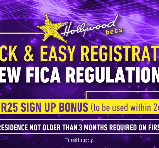 Get a free R25 Bet when you sign up with Hollywoodbets today! See the offer here… 66361390 2727515267272252 4807526249268248576 n 320x297