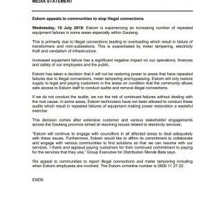 #ESKOMMEDIASTATEMENT   Eskom appeals to communities to stop illegal connections 66636257 2929113903782001 571241164447940608 o 320x320