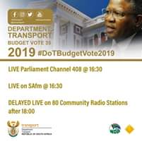 Livestream the Department of Transport budget vote to be delivered by Ministe… 66648111 2306690982746346 3509270172420538368 n
