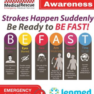Use BE FAST to remember and recognise the following signs and symptoms of stroke… 66835266 2955517857856828 1588096842397122560 o 320x320