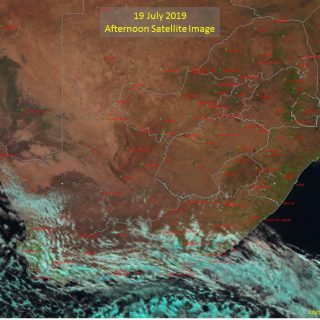 Afternoon satellite image (19 July 2019) – Cold front to the south-east of South… 67219028 1060899407446715 1602237214765350912 o 320x320