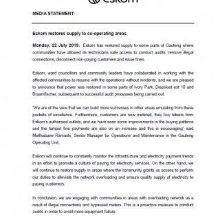 #EskomGauteng #MediaStatement : Eskom restores supply to co-operating areas 67384357 2952861741407217 991432675602464768 n 320x320