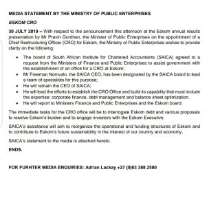 #DPE #MEDIA STATEMENT BY THE MINISTRY OF PUBLIC ENTERPRISES: ESKOM CRO 67937599 2968882456471812 4079765361178705920 o 320x320