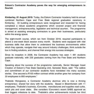 #EskomFreeState #MediaStatement  Eskom's Contractor Academy paves the way for em… 67592236 2972286359464755 5400369845084618752 n 320x320