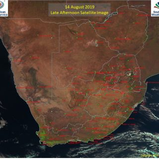 Late afternoon satellite image (14 August 2019) – Cold front situated SE of RSA … 68705401 1077227499147239 3313208514540732416 o 320x320
