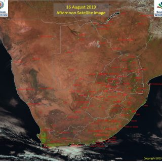 Afternoon satellite image (16 August 2019) – Sunny across South Africa with part… 68747294 1078422595694396 5409488137963438080 o 320x320