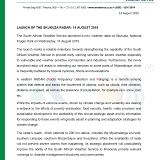 MEDIA RELEASE: LAUNCH OF SKUKUZA RADAR ON 14 AUGUST 2019 The new radar adds to t… 68865624 1077210135815642 4888310396512894976 o 320x320