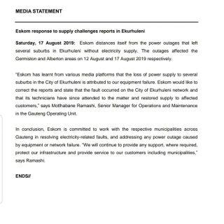 #EskomGauteng #MediaStatement  Eskom response to supply challenges reports in Ek… 69035909 3004488726244518 5886131251852607488 o 320x320