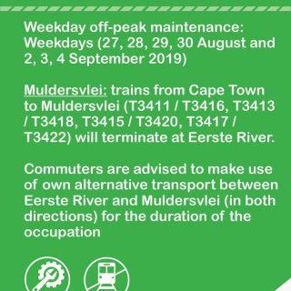 #NorthernLineCT Muldersvlei Line :   Weekday off-peak maintenance; Note service … 69253111 3537094102982817 8673250789969362944 o 320x320