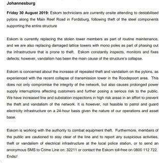#EskomGauteng #MediaStatement  Theft and vandalism of power pylons on Main Reef … 69494289 3030213493672041 7406138010611220480 o 320x320