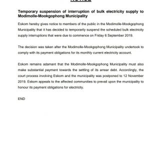 #Eskom_Limpopo   Temporary suspension of interruption of bulk electricity supply… 69598616 3039873562706034 3197371799163633664 o 320x320