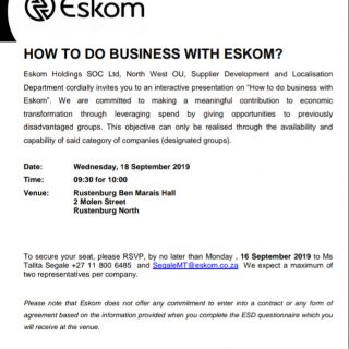 """#EskomNorthWest to conduct an interactive presentation session on """"How to do bus… 70942694 3064429173583806 2619980615209975808 n 320x320"""