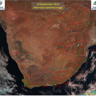 Afternoon satellite image (16 September 2019) – Generally sunny across South Afr… 71089505 1099313933605262 7834931018409705472 o 320x320