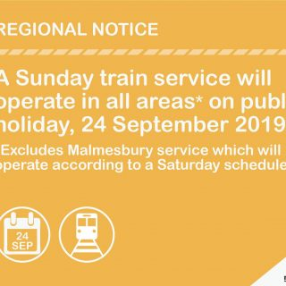 #ServiceUpdate :  Public Holiday Train service on Tuesday 24/9/19 71465806 3620780961280797 604007353985007616 o 320x320