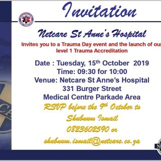 Netcare St Anne's Hospital in Pietermaritzburg invite you to a Trauma day e… 72077971 2583789561642164 6545450246942490624 o 320x320