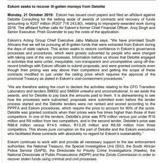 #ESKOMMEDIASTATEMENT     Eskom seeks to recover ill-gotten moneys from Deloitte 74643681 3143582299001826 5876340899671179264 o 320x320