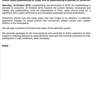 #POWERALERT 3  Date: 19 October 2019  Eskom stops loadshedding for today, and no… 75044628 3139241042769285 3138495025965432832 o 320x320