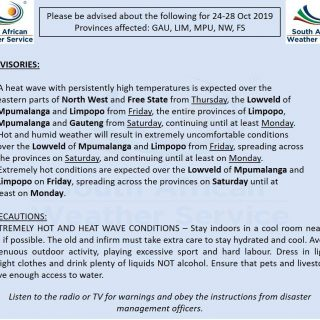 Another #heatwave expected over the north-eastern provinces (Gauteng, Limpopo, M… 75220694 1128670700669585 6744251299388194816 o 320x320
