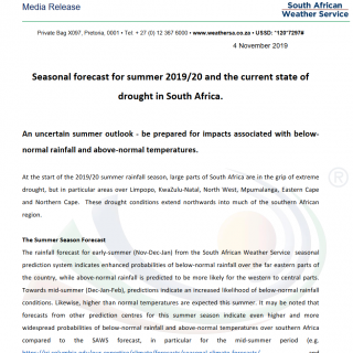 MEDIA RELEASE: Seasonal forecast for summer 2019/2020 and the current state of d… 74374379 1138662086337113 4285303160022499328 o 320x320