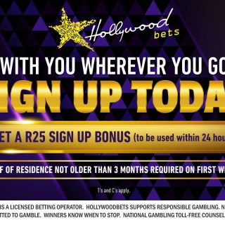 Get a free R25 Bet when you sign up with Hollywoodbets today! Click here:     If… 75625286 2986064278084015 6877741455633285120 o 320x320
