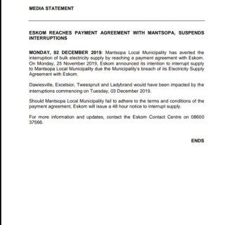 #ESKOMFREESTATE #MEDIASTATEMENT  ESKOM REACHES PAYMENT AGREEMENT WITH MANTSOPA, … 78831153 3245229598837095 5562067783161741312 o 320x320
