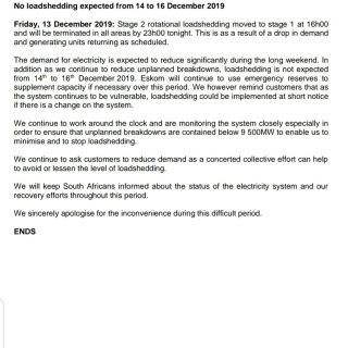 #POWERALERT   Date: 13 December 2019  No loadshedding expected from 14 to 16 Dec… 80586037 3274344245925630 2369840951091789824 o 320x320