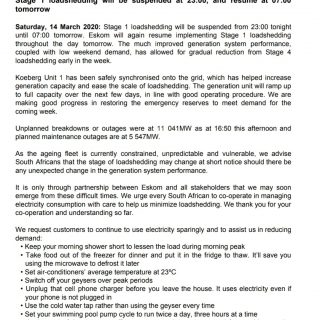 #POWERALERT 2  Date: 14 March 2020  Stage 1 loadshedding will be suspended at 23… 89655586 3499735383386514 2205178416133570560 o 320x320