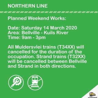 #NorthernLineCT Weekend service changes on the Strand and Muldersvlei lines  due… 89832655 4205486312810256 490517979969093632 o 320x320