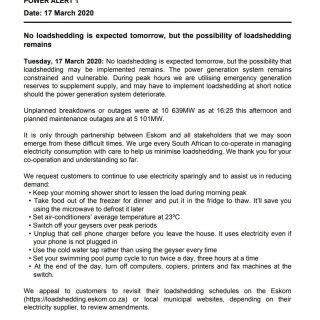#POWERALERT 1  Date: 17 March 2020  No loadshedding is expected tomorrow, but th… 90105628 3507500439276675 1146045030037716992 o 320x320