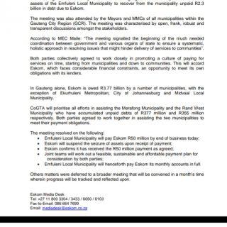 #MEDIASTATEMENT  Joint statement between Eskom and Gauteng COGTA 90141610 3509211105772275 7241158820599169024 o 320x320