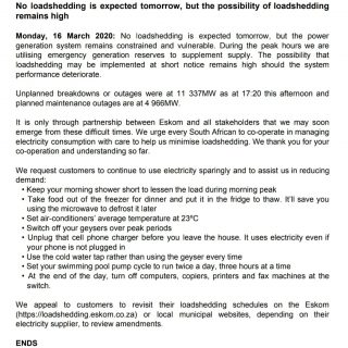 #POWERALERT 2  Date: 16 March 2020  No loadshedding is expected tomorrow, but th… 90141769 3504976882862364 4593622721715240960 o 320x320