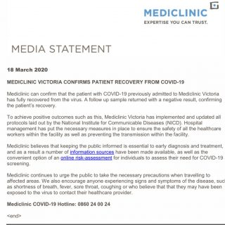 19 March 2020  Media Statement: Mediclinic Victoria  This is a great outcome ach… 90272862 3707539555987984 9074021330889736192 o 320x320