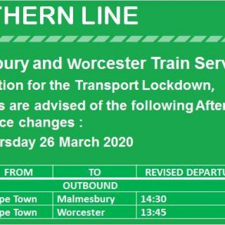 #NorthernLineCT #ServiceAlert  Commuters are advised of Worcester and Malmesbur… 91050178 4251807538178133 554850027353145344 n 320x320