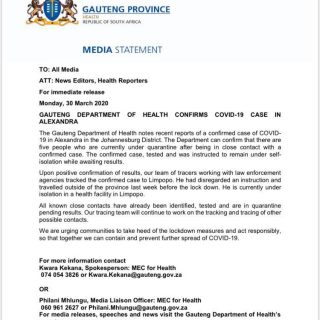Please take note; Gauteng Department of Health confirms Covid-19 case in Alexand… 91692213 855075275011529 1934641608729296896 n 320x320
