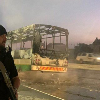 Earlier… a GABS bus on fire in Mfuleni… 109357377 3154142907967846 1068040967109761698 o