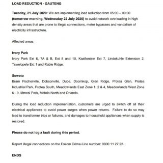 #EskomGauteng Load Reduction Notice  We are implementing load reduction from 05:… 109538245 3861322370561145 4459557606572490743 o