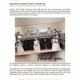 Netcare Greenacres Hospital Media release  Appreciation for healthcare workers o… 109732999 3259562494064864 4857663637329608533 n
