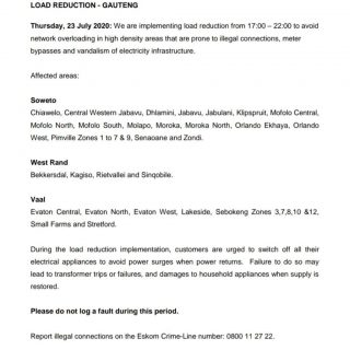 Eskom Load Reduction Notice  Date:  23 July 2020  Time:  17h00 to 21h00 (impleme… 109999064 3866498590043523 8713762130606037407 o