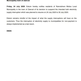 #EskomNorthWest #MediaStatement   Eskom suspends the planned power interruption … 110301333 3869446489748733 826952272771963123 o
