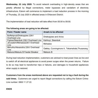 #EskomMpumalanga Load Reduction Notice  Eskom will implement load reduction on T… 110331991 3864228586937190 3408952021715465048 o