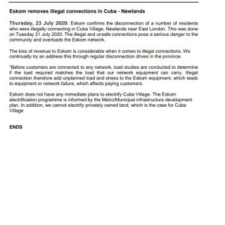 #Eskom_EasternCape #MediaStatement  Eskom removes illegal connections in Cuba – … 115723316 3866588903367825 2184010708902844174 o