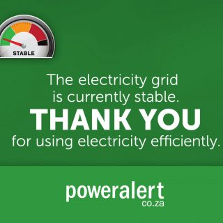 #PowerAlert  25 July 2020  21:00  The electricity grid is currently stable.  Tha… 116220481 3873789932647722 7061685175444446994 o